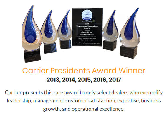 President's award from Carrier